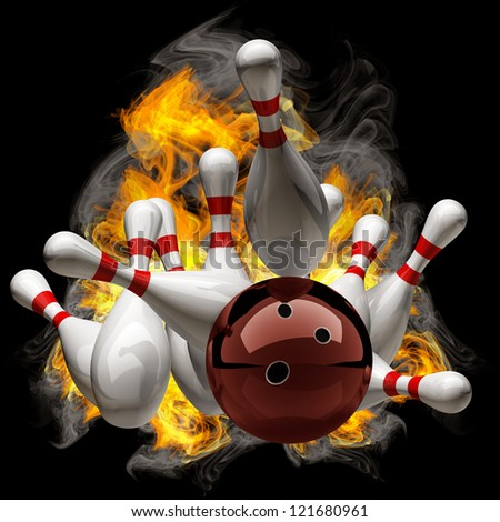 Abstract Bowling Ball crashing into the pins on fire. isolated black background. High resolution - stock photo