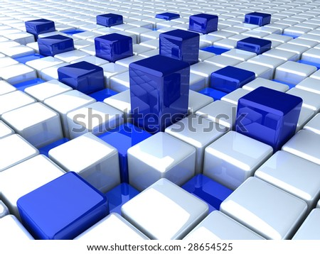 abstract boxes blue background