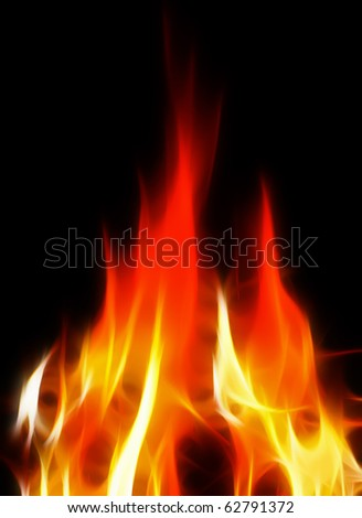 abstract bright and hot fire on black background - stock photo