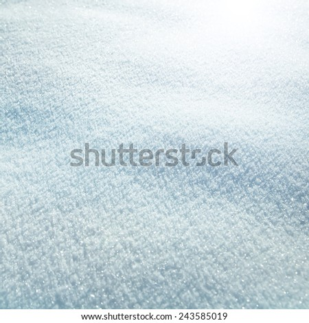 Abstract bright blue snow texture detail background. Selective focus used. - stock photo