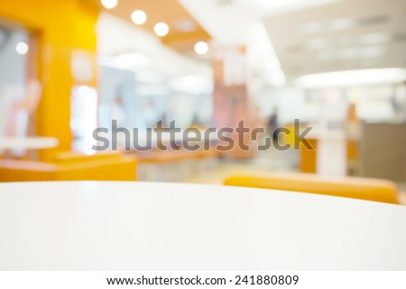 Abstract bright blurry restaurant background with few blurry unrecognizable customer - stock photo