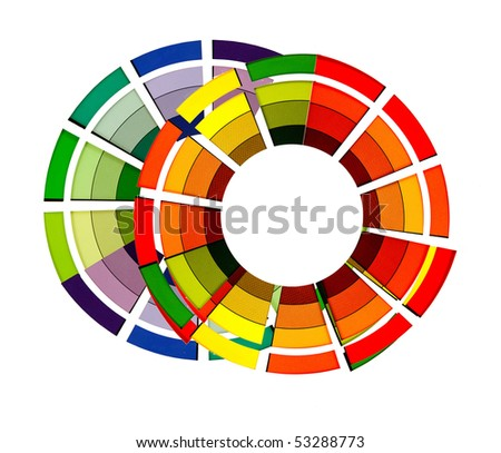 abstract bright color wheels on a white background - stock photo