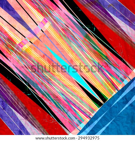 Abstract bright colorful background with different geometric elements - stock photo