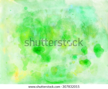Abstract bright colorful green blue watercolor background.