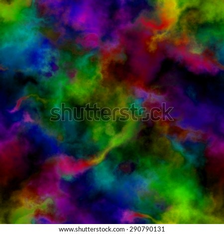 Abstract bright colorful smoke on black background.  Multicolor clouds.  Rainbow cloudy pattern. Blurry gas. Steam. Fog. Foggy color spectrum. Blurs.  Texture background. Seamless illustration. - stock photo
