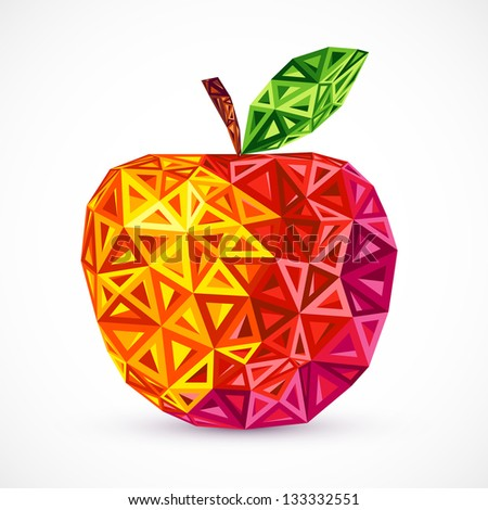 Abstract bright colors triangles apple - stock photo