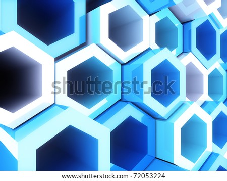 Abstract bright geometrical background with blue hexagons