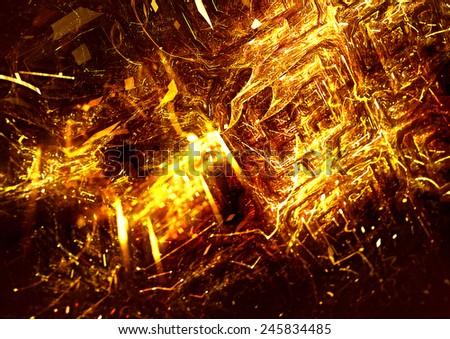 Abstract bright golden background. Sparkle digital  texture for creative design. Shiny decoration for wallpaper desktop, poster, cover booklet, flyer. Fractal artwork - stock photo