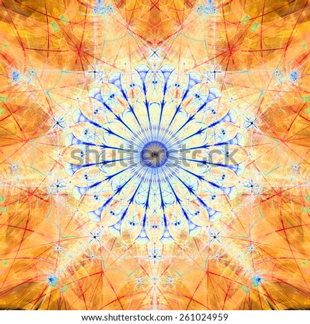 Abstract bright high resolution fractal background with a detailed abstract circular flower/star with many petals in the middle, all in blue,orange,red - stock photo
