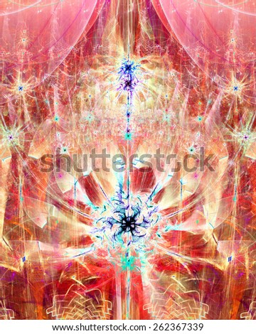 Abstract bright high resolution fractal background with a detailed abstract 3D spiraling flower/star with four petals in the middle, all in red,pink,blue - stock photo