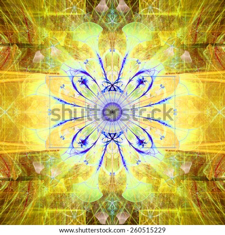 Abstract bright high resolution fractal background with an esoteric looking star/flower in the middle, all in yellow,red,blue - stock photo