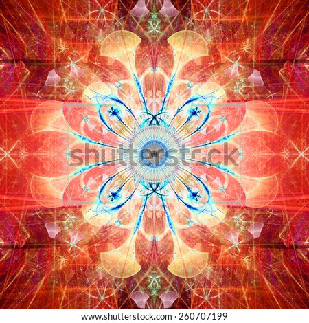 Abstract bright high resolution fractal background with an esoteric looking star/flower in the middle, all in red,yellow,blue - stock photo