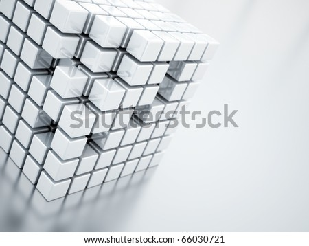 Abstract bright metallic cubes on a light background - stock photo