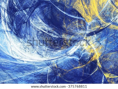 Abstract bright motion composition. Modern futuristic dynamic background. Blue and yellow color artistic pattern of paints. Fractal artwork for creative graphic design - stock photo