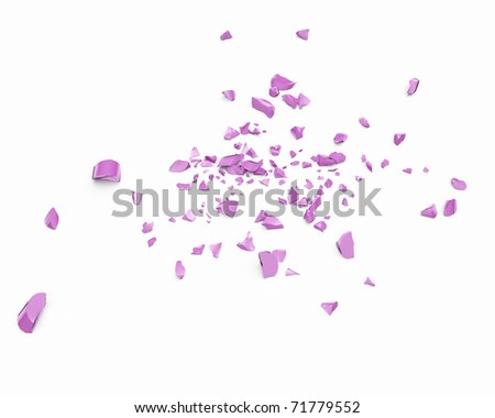 abstract bright pink pieces of lipstick scattered across the white surface