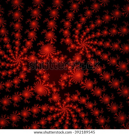Abstract bright red / black fractal background with a floral design. - stock photo