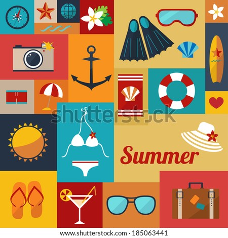 abstract bright summer background with flat icons raster version - stock photo