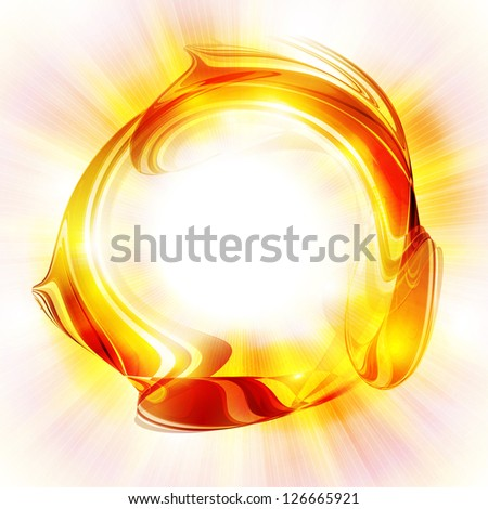 Abstract bright sun in white background. Rasterized version - stock photo