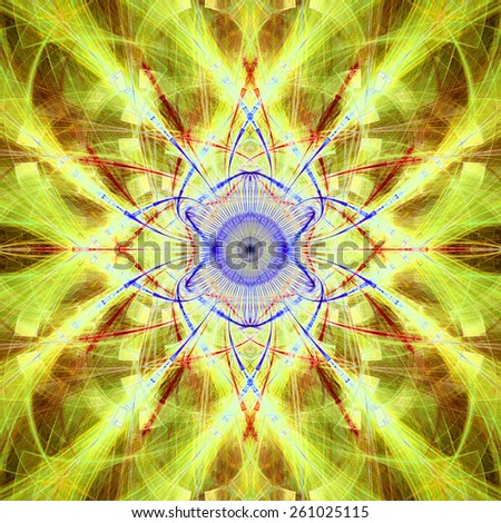 Abstract bright vivid high resolution fractal background with a detailed abstract cross-like flower/star with four petals in the middle, all in yellow,red,blue,green - stock photo