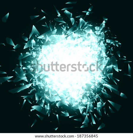 Abstract Broken Glass or Blue Ice Background, Copyspace  - stock photo