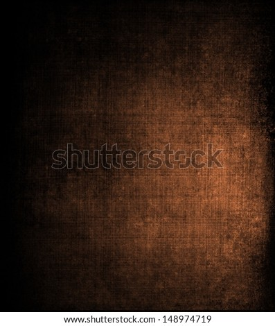 abstract brown background canvas texture with brush strokes vintage grunge background texture, distressed messy black vignette border, brown color spotlight with copy space, country western background - stock photo