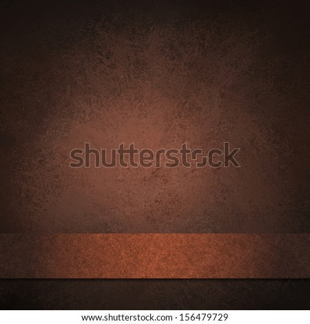 abstract brown background dark color, luxury background texture leathery design with white spotlight center and ribbon for text country western cowboy background, vintage grunge background texture  - stock photo