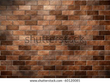 Abstract brown Brick wall created in photoshop. - stock photo
