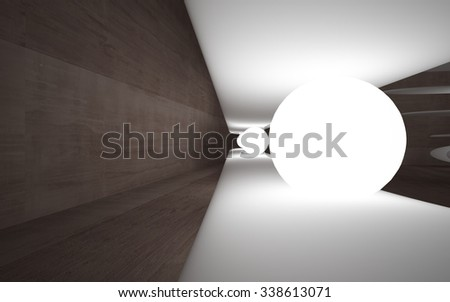 Abstract brown concrete interior with luminous spheres and white streamlined sculpture. 3D illustration. 3D rendering