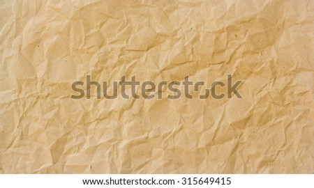 Abstract brown recycle crumpled paper for background : crease of brown paper textures backgrounds for design,decorative. paper textures concept. - stock photo