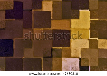 Abstract brown squares digital illustration. Brush paint background. - stock photo