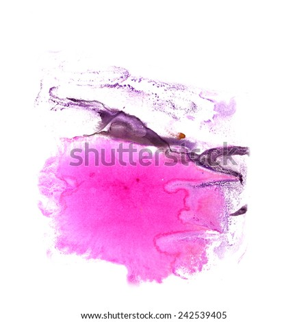 abstract Brown, violet, pink drawing stroke ink watercolor brush water color splash paint watercolour background - stock photo