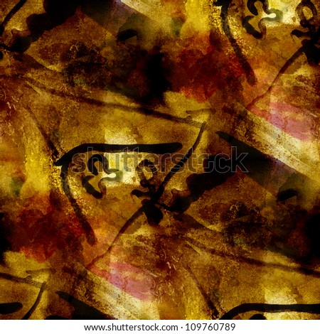 abstract brown yellow black painting watercolor seamless texture hand painted background