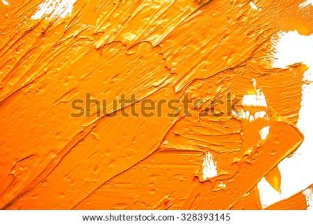 abstract brush stroke daub background yellow oil paint  - stock photo