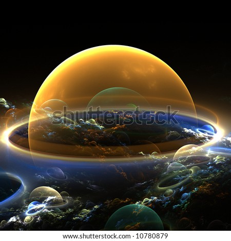 abstract bubble planets with clouds - stock photo