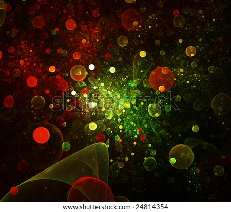 Abstract bubbles background. red palette. raster fractal graphics. - stock photo