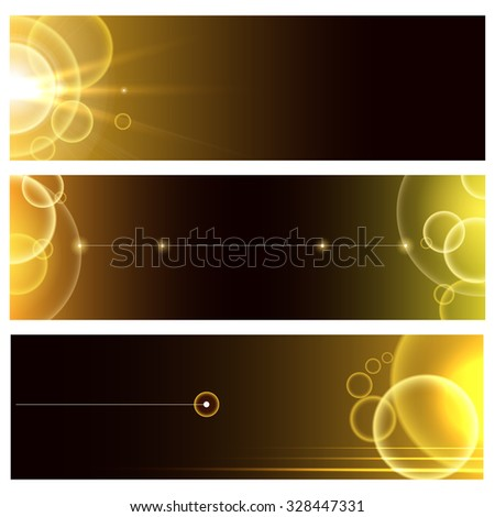 Abstract bubbles banners or Headers set. Glowing golden bubbles with space for your text. - stock photo