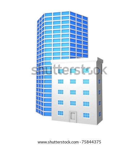 Abstract Buildings Symbol - stock photo