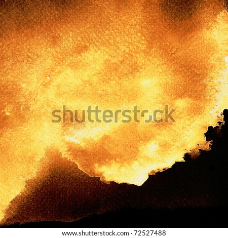 Abstract  Burning brown stains on black paper - stock photo