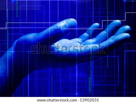 Abstract business and information technologies background with a hand - stock photo