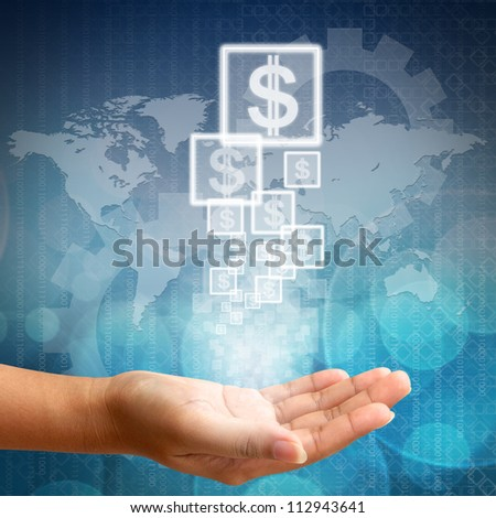 Abstract business background blue color ,Dollar icon on hand
