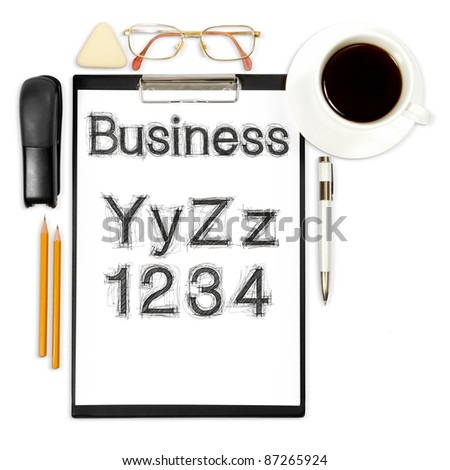 abstract business background with alphabet and office supply isolated on white - stock photo