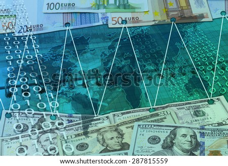 Abstract business background with card, dollars and  eu money  - stock photo