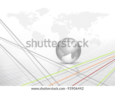 Abstract business background with globe and dotted world map and abstract lines - communication concept