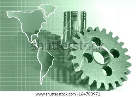 Abstract business background with map and gears, in greens. - stock photo
