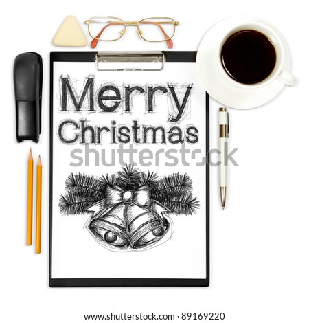 abstract business background with xmas and office supply isolated on white - stock photo