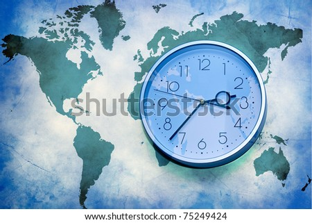 Abstract business background. world map with wall clock - stock photo