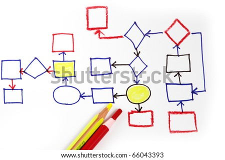 Abstract business flow chart diagram on white background - stock photo