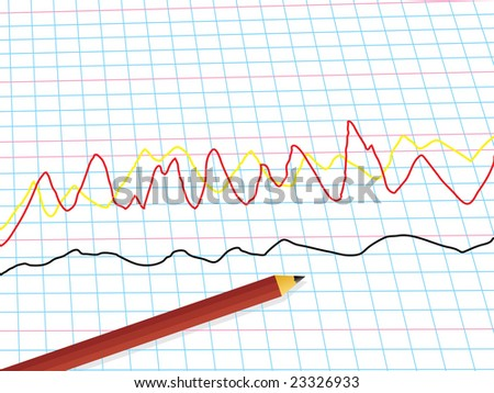 Abstract business illustration of a line graph and a pencil with a drop shadow