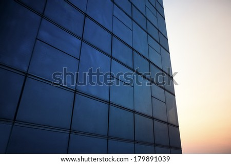 abstract business interior, view of sky - stock photo