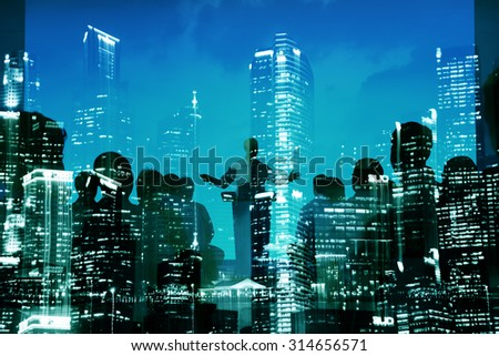 Abstract Business People Seminar City Building Concept - stock photo